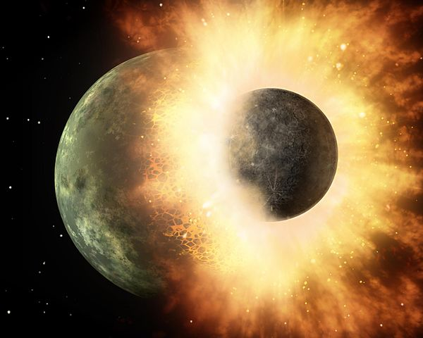 Impact of a planet like Theia and the Earth