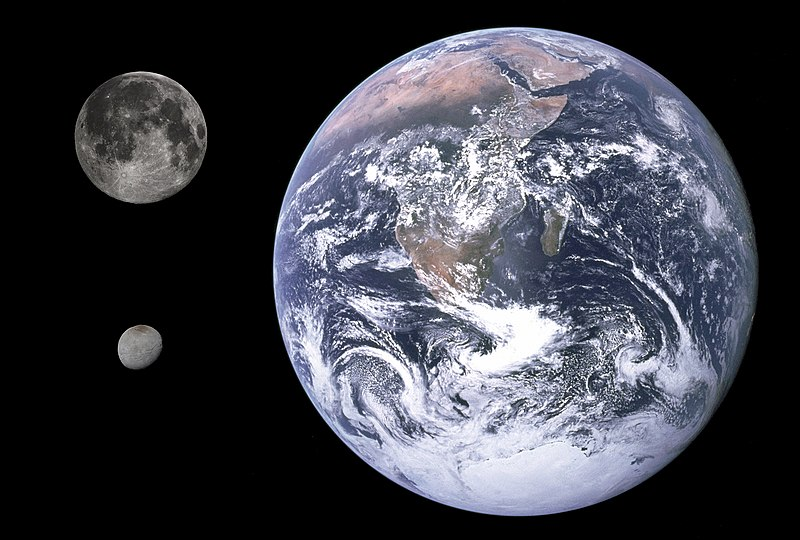 Size comparisons: Earth, the Moon, and Charon