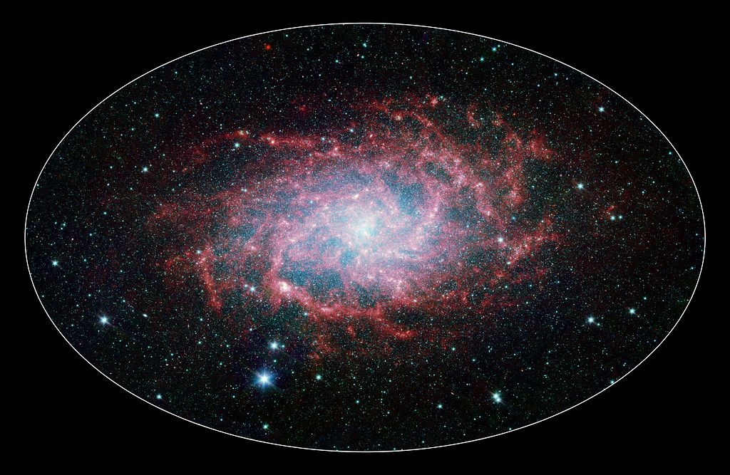 Infrared image of M33 taken with the Spitzer Space Telescope