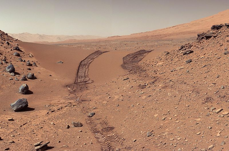 """view of Martian soil and boulders after crossing the """"Dingo Gap"""""""