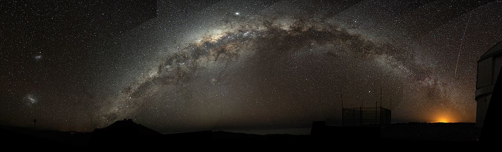 The Milky Way arching at a high inclination across the night sky.