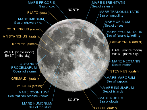 Moon with major maria and craters labeled