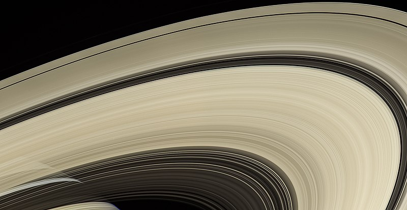 Saturn, draped with the rings' shadows, behind the rings