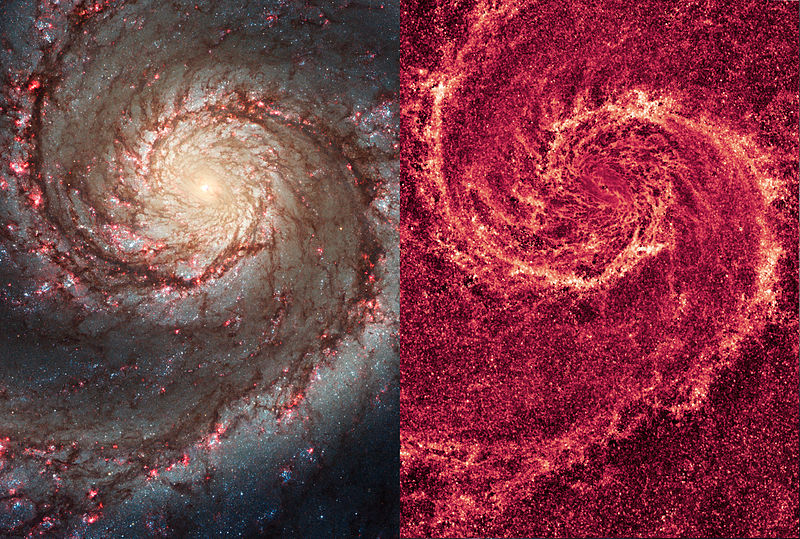 The image of the Whirlpool Galaxy in visual light (left) and infrared light (right).