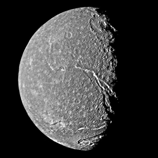 Image of Titania shows moderately cratered plains