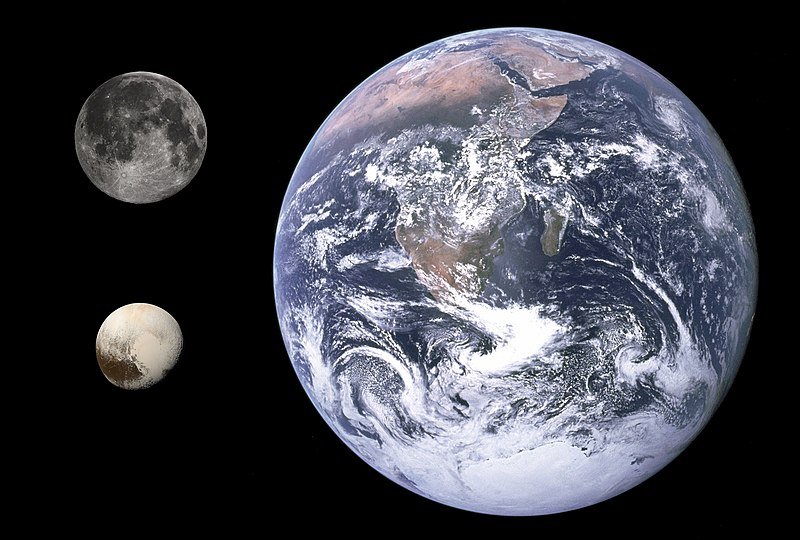 Size comparisons: Earth, the Moon, and Pluto